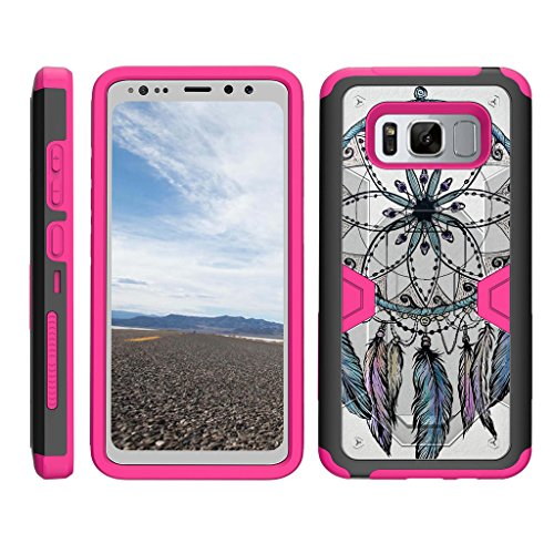 TurtleArmor | Samsung Galaxy S8 Active Case | G892 [Clip Caliber] High Impact Shockproof Silicone Armor Kickstand Holster Belt Clip Pink Case - Dreamcatcher Feathers