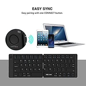 Foldable Bluetooth Keyboard, Jelly Comb B047 Ultra Slim Folding Bluetooth Wireless Keyboard Rechargeable Pocket Size Keyboard for Windows Mac OS Android iOS Laptop iPad Tablet Smartphone and More