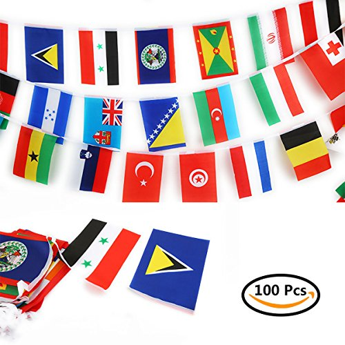 lags 82 Ft International String Flags Banners,World Flag Pennant For Grand Opening,Sport Games,Bar Set-Up,Party Decorations,Sports Clubs,Restaurant,Festivals 5.5 X 8.2 Inch (Grand Opening Pennants)