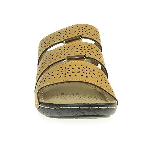 AARZ LONDON Women Ladies Open Toe Summer Comfort Casual Low Wedge Heel Lightweight Cushioned Sandal Shoes Size Beige 47zS8E0E