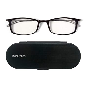 cfbf27b5199f ThinOptics Reading Glasses + Milano Aluminum, Magnetic Case | Frontpage  Brooklyn Collection, Black Frame