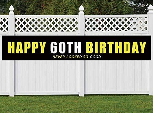 60th Birthday Banner, Large Happy 60th Birthday Sign,
