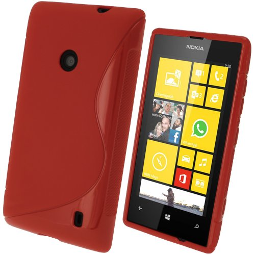 iGadgitz S Line Red Durable Crystal Gel Skin (TPU) Case Cover for Nokia Lumia 520 Windows Smartphone Cell Phone + Screen Protector