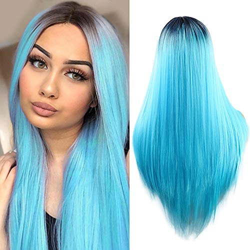 Fani Wigs Ombre Blue Wig Halloween Costume Wigs Long Straight Middle Part Dark Roots Synthetic Cosplay Wigs for -