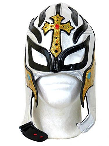 Rey Mysterio Costume Mens (Rey Mysterio Adult Lucha Libre Wrestling Mask (pro-fit) Costume Wear - Silver Gold)