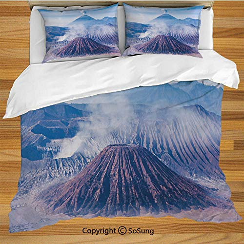 Volcano Queen Size Bedding Duvet Cover Set,Bromo Batok and Semeru Volcanoes Java Island Indonesia Magma Activity Decorative Decorative 3 Piece Bedding Set with 2 Pillow Shams,Light Blue Mauve White