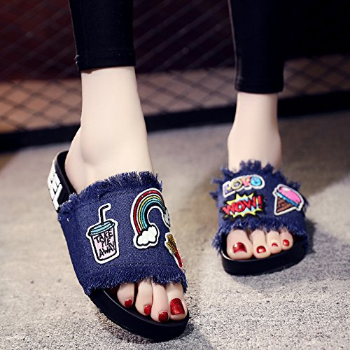Tassels Slippers Denim Slippers A Toe Blue and Stickers Embroidered XKNSLX Pair Slippers Cartoon Shoes European Casual of Deep and American FO6zwpS6