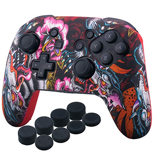 YoRHa Studded Silicone Transfer Print Cover Skin Case ONLY for Nitendo OFFICIAL Switch Pro Controller x 1(Dragon Red) With Pro Thumb Grips x 8