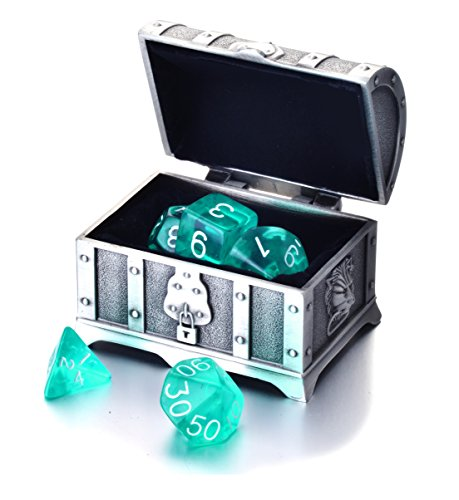 REINDEAR 7 Die Polyhedral Role Playing Game Dice Set with Treasure Chest Dice Container (Transparent Turquoise)