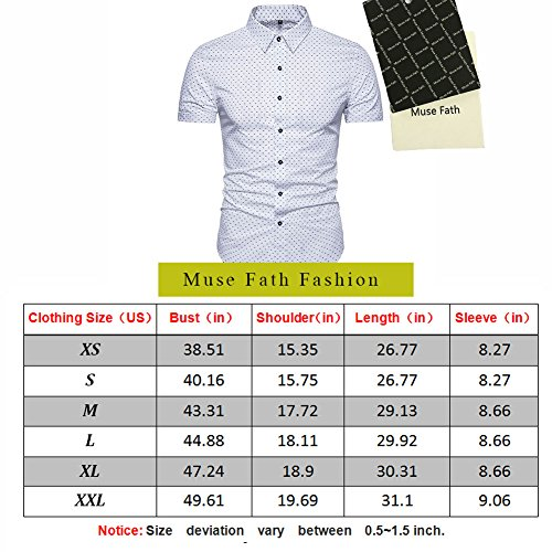 MUSE FATH Men's Printed Dress Shirt-Cotton Casual Short Sleeve Regular Fit Shirt 6