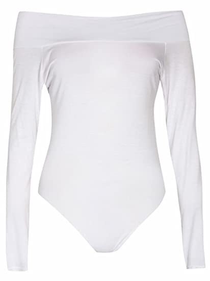 e4e8fd82fe4 Womens Plain Long Sleeves Off Shoulder Stretchy Bodysuit at Amazon Women s  Clothing store