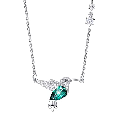 037362dd5 CDE Hummingbird S925 Sterling Silver Necklace for Women, Crystals from  Swarovski Fine Animal Jewelry Necklace