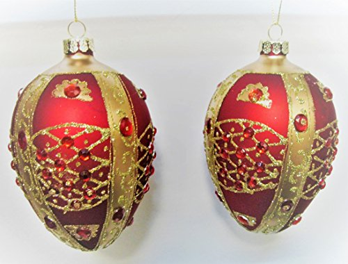 Rich Christmas Red Satin with Red Jewels Egg Shaped Glass Ornaments GIFT BOXED (RED) Round Faceted Glass Jewels