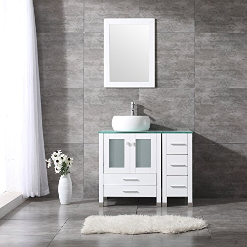 Bathroom Vanity Top Single Ceramic Vessel Sink Cabinet MDF Wood w/Mirror (36'', Sink Round) - 36' Bathroom Vanity Top