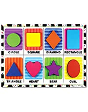 Melissa & Doug Shapes Chunky Puzzle (Preschool, Chunky Wooden Pieces, Full-Color Pictures, 8 Pieces, Great Gift for Girls and Boys - Best for 2, 3, and 4 Year Olds)