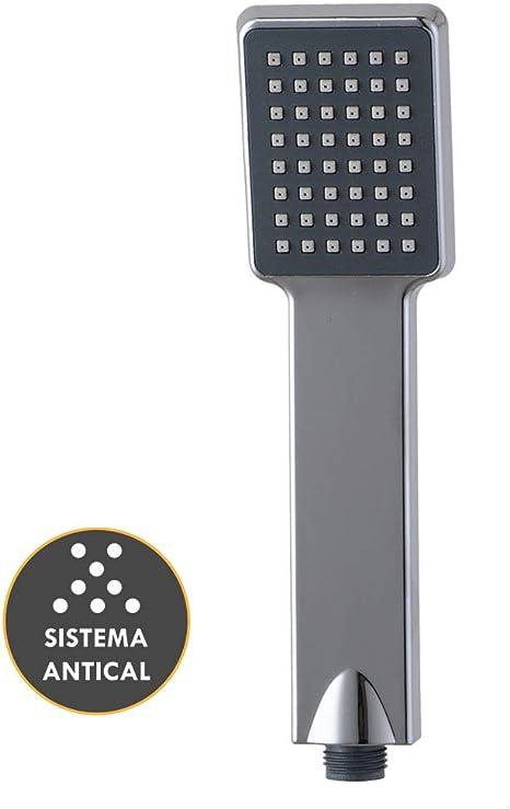 Fabricada en ABS con acabado cromo brillo Kibath 141011 Mango ducha de mano maneral redondo 1 posici/ón DEL Sistema antical Ligero y con efecto de lluvia natural Conexi/ón universal