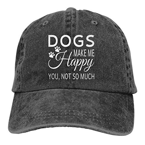Dogs Make Me Happy You Not So Much Dad Denim Hats Vintage Baseball Caps Men