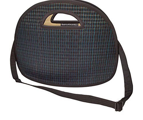 Chic Multifunction Chameleon – Large, Foldable  Convertible – Handmade, Vegan  Fair Trade – Black with Teal Stripes