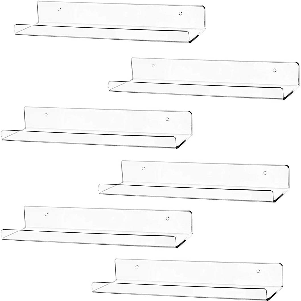 "Cq acrylic 15"" Acrylic Floating Wall Ledge Shelf,Floating Book Shelves for Kids Room,Clear Bathroom Shelves,Great for Living Room, Office, Bedroom, Bathroom, Kitchen,Set of 6"