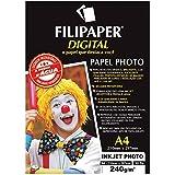 Filipaper 2579, Papel Fotográfico, Inkjet, A4, Photo Profissional 240 g, Multicor, Pacote de 30