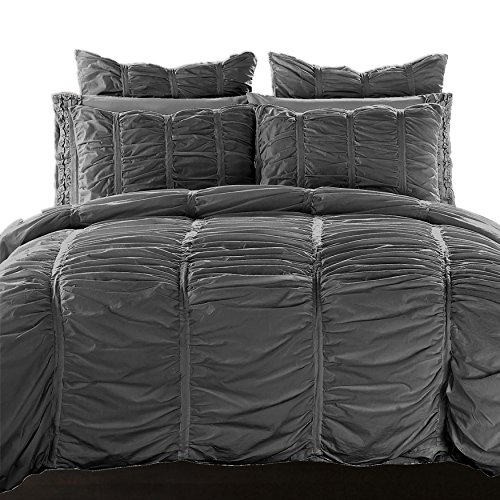 California Design Den Duvet Cover Set Ruffled Cotton All Season Lightweight Luxury Bedding Perfect for Down Alternative Comforter, King Size, Charcoal Grey, 3 (Allure Queen Comforter)