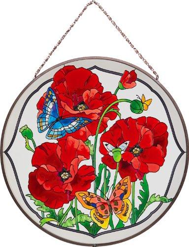 Joan Baker Designs AP4009 Poppy Garden Glass Art Panel, 10-Inch Diameter