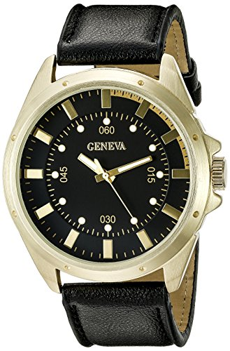 Geneva Black Leather Watch - 8