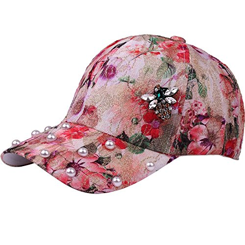 Men Women Fashion Hats, ZOMUSAR Cotton Trends Hip Hop Floral Print Pattern Adjustable Baseball Cap Hat (Red)