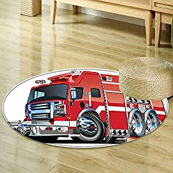 Mikihome Anti-Skid Area Rug Cars Decor Big Fire Truck with Emergency Equipments Universal Safety Rescue Team Engine Cartoon Print Red Silver Soft Area Rugs R-35