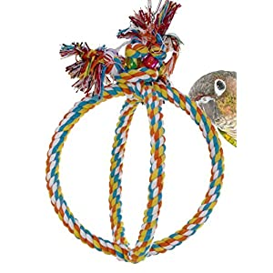Bonka Bird Toys 1992 Medium Globe Rope Ring Swing Aviary Cage Swings Cages Globes Rope Conure African Grey Amazon 42