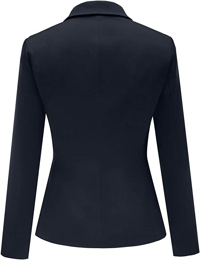 GRAPENT Womens Business Casual Pocket Work Office Blazer Back Slit Jacket Suit