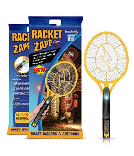 InnoBasics Racket Zapp Bug Zapper (3000 Volts) Electric Mesh Mosquito, Insect and Fly Swatter | LED Light, USB Rechargeable | Indoor, Outdoor Use | Pet and Touch-Safe