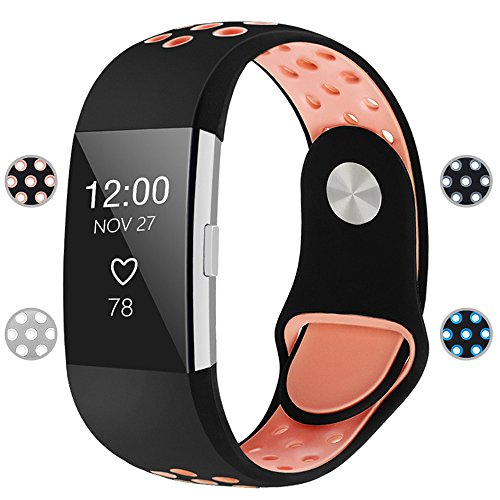 iGK Silicone Replacement Bands Compatible for Fitbit Charge 2, Adjustable Breathable Sport Strap Smartwatch Fitness Wristband with Air Holes Black Pink Large