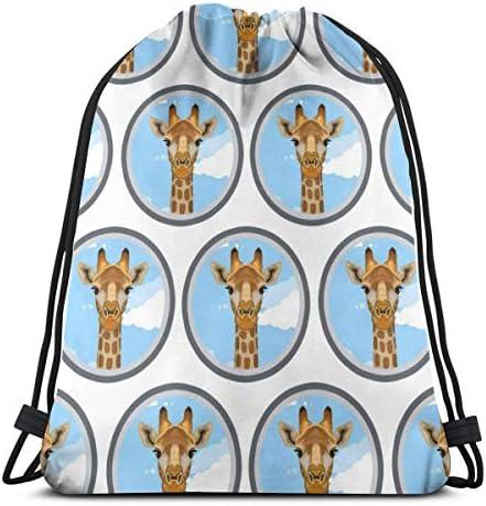 キリン動物園動物巾着バッグバックパックジムダンスバッグハイキングビーチ旅行バッグ用バックパック36 x 43cm