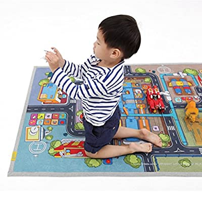 """[LEPAPA] 59.1"""" x 39.4"""" Baby Kids Toddler Le Bonheur Microfiber Robot Factory Petite Play Mat Carpet for Indoor and Outdoor Use, 3D Graphic, Interactive & Complex Play"""
