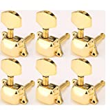 Musiclily 6 in line Semi Sealed Guitar Tuners Tuning Pegs Keys Machine Heads, Big Button Gold