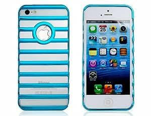 Cut-Out del caso plástico para el iPhone 5 (azul-verde)