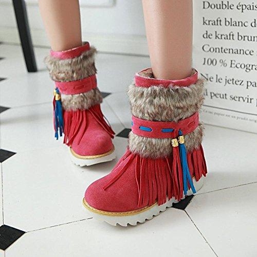 Charme Voet Dames Warme Kwastjes Hoge Top Winter Lage Hak Korte Snowboots Rood