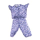 MonkeyJack Flower Sleeveless Shirt Pants Clothes for 18inch American Girl AG Zapf Baby Born Dolls Dress Up Kids Role Play Blue