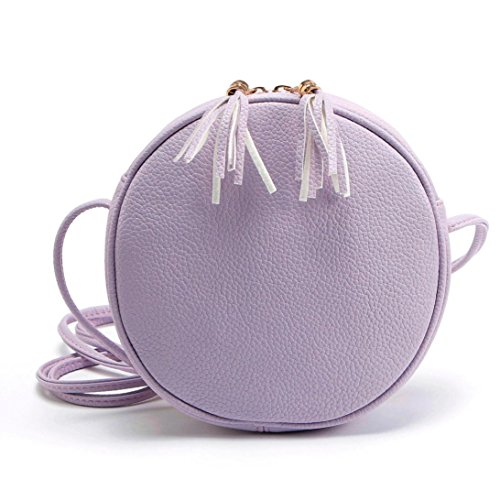 Purple Bag Handbag Girl Round Messenger SunfeiWomen Shoulder Leather qS4f01x