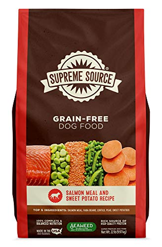 Supreme Source Premium Dry Dog Food Grain Free, USDA Organic Seaweed, Protein, Salmon and Sweet Potato Recipe for All Life Stages. Made in The USA. (22lb)