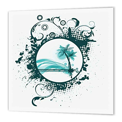3dRose ht_152488_1 Two Palm Trees and Moon Surrounded by Flourishes on a Grunge Background Iron on Heat Transfer for White Material, 8 by 8""