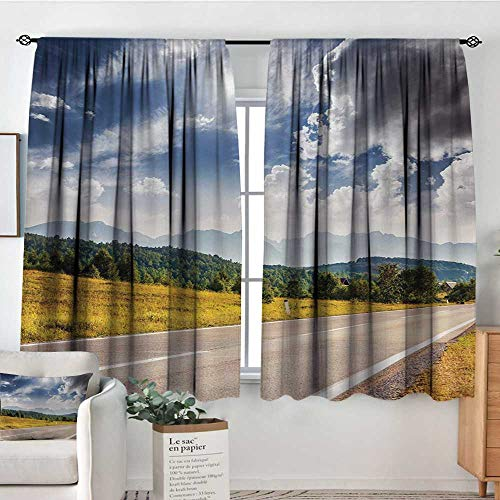 All of better Landscape Patterned Drape for Glass Door American Desert Abandoned Road Hot Sunny Clouded Weather Art Image Customized Curtains 55