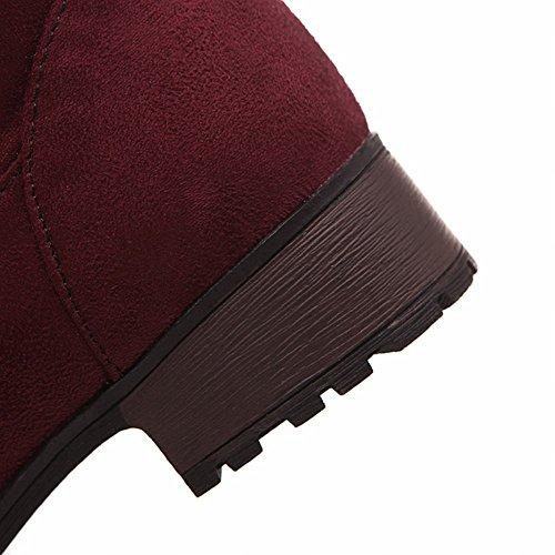 Carolbar Donna Moda Dual-purpose Primavera E Autunno Uso Comfort Basso Tallone Metà Polpaccio Stivali Vino Rosso