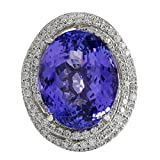 22.22 Carat Natural Fancy Blue Tanzanite And Diamond Cocktail Ring In 14K White Gold