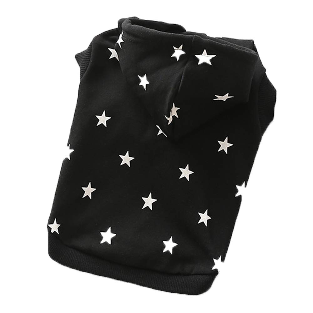 Black Large Black Large Dog Clothes pet Costume Small Dog Hooded Sweater Print