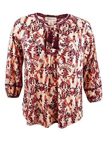 (Style & Co. Womens Plus Bishop Sleeves Floral Print Peasant Top Orange 3X)