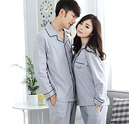 Size : XXL Long-Sleeved Lapel Pajamas and Home Clothes 100/% Cotton Couple Pajamas Pajama Pants Set with Pockets TangFeii Spring and Summer Mens Pajamas Comfortable and Breathable Casual Wear