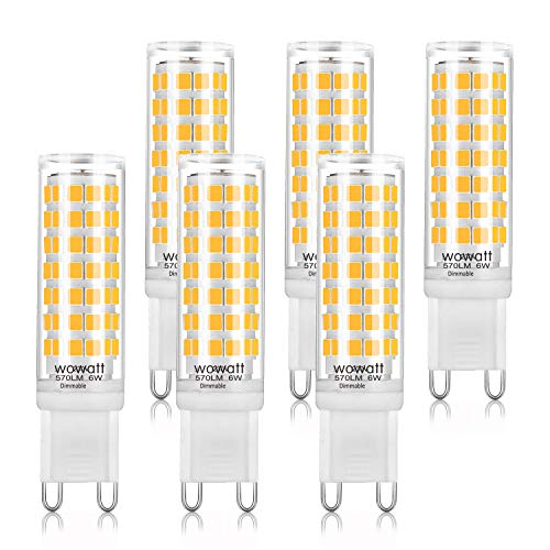 G9 LED Dimmerabile Lampadina Wowatt 6W 570lm Luce Bianca Calda 2800K Pari a 50W Alogena Resa Ottima RA 83 Angolo a…