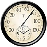 Taylor Precision Products Springfield Patio Thermometer with Clock, 14-Inch